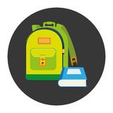 Colorful silhouette with school briefcase and book in circular frame Stock Images