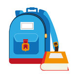 Colorful silhouette with school briefcase and book Royalty Free Stock Image