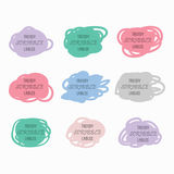 Colorful silhouette scribble labels set on white background Stock Images
