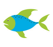 Colorful silhouette with sea fish blue and fins green and dots. Vector illustration Stock Photo