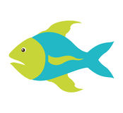Colorful silhouette with sea fish blue and fins green. Vector illustration Stock Photos