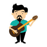 Colorful silhouette singer with acoustic guitar Royalty Free Stock Photography
