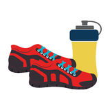 Colorful silhouette with sport shoes and drink bottle Stock Photography
