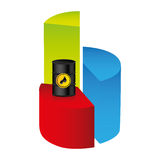 Colorful silhouette with statistics graphs with oil price fall. Illustration Stock Photography