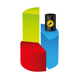 Colorful silhouette with statistics graphs with stable oil price. Illustration Royalty Free Stock Photo