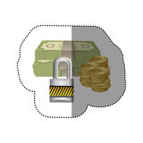 Colorful silhouette sticker of bills and coins with padlock protection Stock Photo