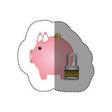 Colorful silhouette sticker of money box in shape of piggy and padlock Stock Photography