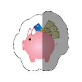 Colorful silhouette sticker of piggy bank with credit card and bills and coins Stock Photo