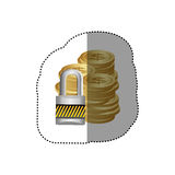 Colorful silhouette sticker of stacked coins with padlock protection Stock Image
