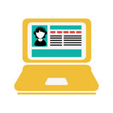Colorful silhouette tech laptop icon Royalty Free Stock Images