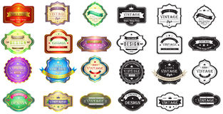 Colorful and silhouette vintage badges design with. Colorful glossy vintage and retro badges design with sample text, create by vector Stock Image