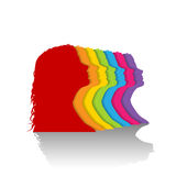 Colorful silhouette of woman Stock Photo