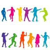 Colorful silhouettes of children dancing. On white background Stock Image