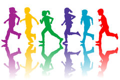 Colorful silhouettes of children running Royalty Free Stock Photography