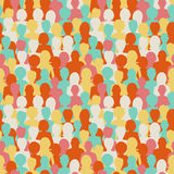 Colorful silhouettes, crowd of people seamless pattern Stock Images