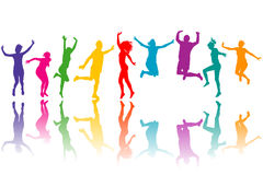Colorful silhouettes jumping Royalty Free Stock Photography