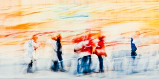 Colorful silhouettes of people in the street - Abstract Expressionism Impressionism. Photography Dreamy In motion stock photo