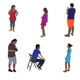 Colorful Silhouettes of People Vector Illustration. Stock Images
