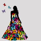 Colorful silhouettes of women and butterflies Stock Photography
