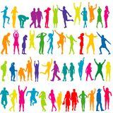 Colorful silhouettes of women and men Stock Photography