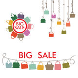 Colorful silhouettes women's handbags.Big sale Royalty Free Stock Photography