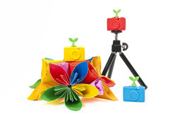 Colorful silicon camera with colorful flower Royalty Free Stock Photos