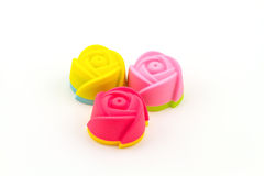 Colorful of silicone molds for baking in the form of hearts, obj Royalty Free Stock Image