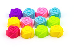 Colorful of silicone molds for baking in the form of hearts, obj Stock Images