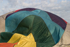 Colorful Silk. Hot air balloon inflating- fabric billowing Stock Photo