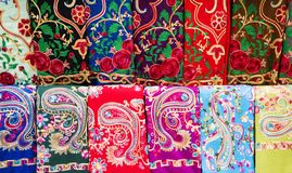 Colorful silk Eastern Turkish shawls on display royalty free stock images