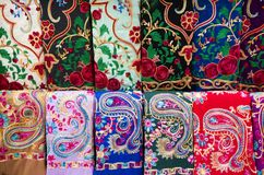 Colorful silk Eastern Turkish shawls on display stock photo