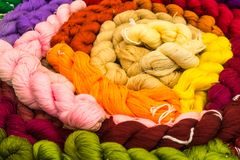 Colorful silk fiber ready to weave into silk cloth. Hand craft stock images