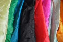 Colorful silk handkerchiefs hanging down Stock Photos