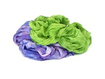 Colorful silk isolated on a white Stock Photos