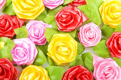 Colorful silk roses Royalty Free Stock Images