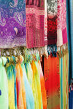 Colorful silk scarf and fabric. This colorful shot is of some popular silk fabrics found in a market in China stock image