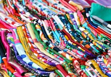 Colorful silk scarfs Royalty Free Stock Image