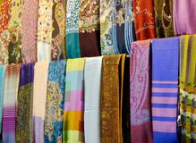 Colorful silk scarfs Stock Images