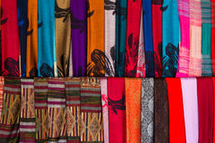 Colorful silk scarfs Royalty Free Stock Images