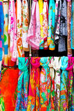 Colorful silk scarves. Colorful scarves at a market Royalty Free Stock Photography