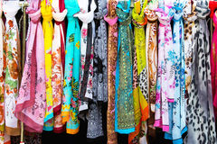 Colorful silk scarves Royalty Free Stock Images