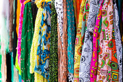 Colorful silk scarves. Colorful scarves at a market Royalty Free Stock Photos
