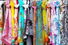 Colorful silk scarves Royalty Free Stock Photography