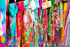 Colorful silk scarves. Colorful scarves at a market Stock Images
