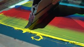 Colorful silk screen printing process on t shirt