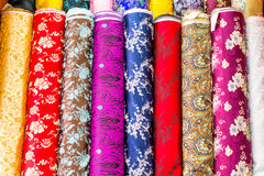 Colorful Silk in Store to be sold in Beijing China royalty free stock photo