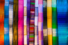 Colorful silk textiles Stock Images