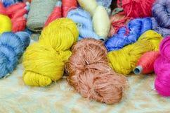 Colorful silk yarns Stock Image