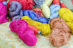 Colorful silk yarns Royalty Free Stock Images