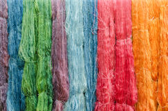 Colorful silk yarns Stock Photos
